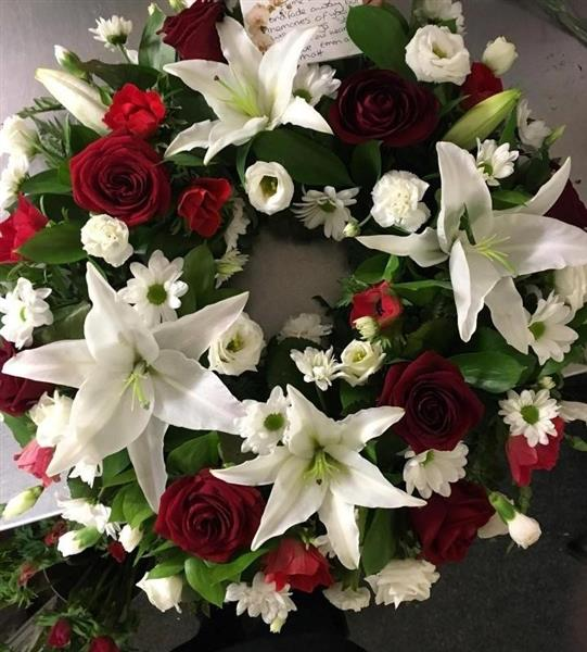 Red Rose and White Lily Wreath